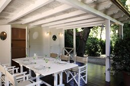 Dining alfresco under a covered terrace