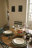 Mediterranean food in a country house in front of a terrace door