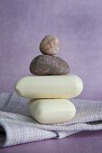 A stack of stones and soap