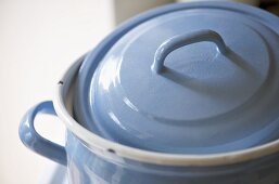 Close up of blue cooking pot