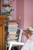 Stack of books on chair