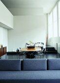 An open-plan living-room-cum-dining-room