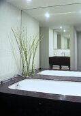 A bathroom with white mosaic wall tiles and a counter top made of Belgian granite
