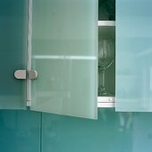 The door of a glass wall unit is ajar in a kitchen