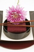 Asian place-setting with flower