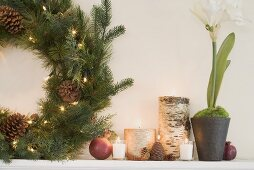 Mantelpiece decorated for Christmas (detail)