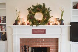 Mantelpiece decorated for Christmas
