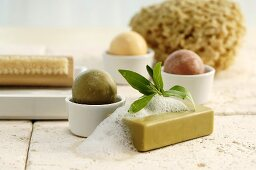 Different soaps with nail brush and sponge