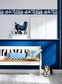 Dog lying next to rustic, white wooden bench against blue and white wall with frieze