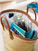 A basket bag lined with city map fabric