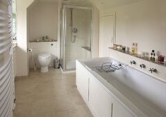 Daylight bathroom with bathtub, shower cubicle and toilet