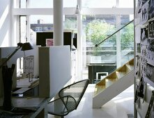 Architect's work corner with models on the table in a contemporary home