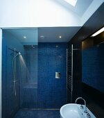 Bathroom with blue mosaic tiles on the wall and floor with enclosed glass shower stall