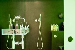 Bathing utensils on a glass shelf in a modern shower cubicle