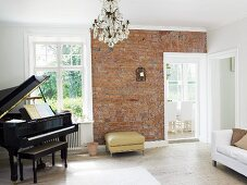 Piano and brick wall in music room