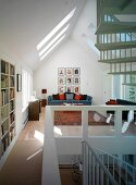 Living room in open-plan converted attic