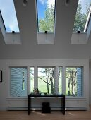 Black console table in front of window and under skylights in contemporary house