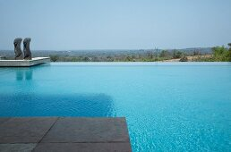 Extensive infinity pool with pair of sculptures and view of distant landscape