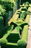 Eindrucksvolle Gartenanlage mit formgeschnittenen Hecken und gepflasterten Wegen.