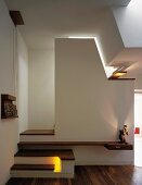 Stylish staircase in living room