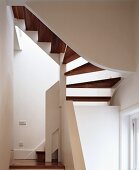 Stairwell with white walls