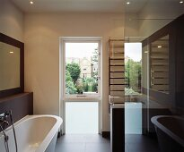 Bathroom with view of house opposite