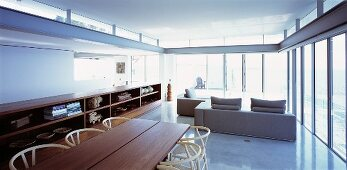 Open-plan living space with dining area