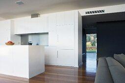 Open-plan white kitchen with island