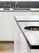 Designer kitchen island and kitchen unit with sink