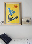Picture next to retro radio on shelf