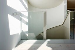 Head of stairs with glass balustrade