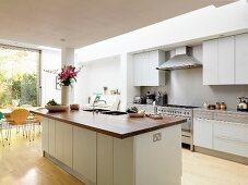 Free-standing kitchen island in open-plan kitchen