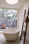 Free-standing bathtub and ladder as towel rail in bathroom with glass wall