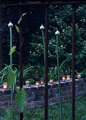 Decorative candle lanterns on small brick wall in garden