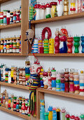 Shelves full of knitting dollies