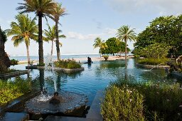 Pond complex at the Hotel Shanti Maurice (Mauritius)