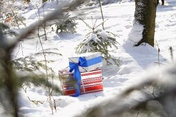 Presents in snow