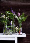Flowering garden herbs in glasses and bottles against dark wooden wall