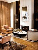 High-ceilinged interior with fireplace and seating in modern classical style