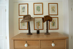 Framed botanical drawings on wall above Shaker-style chest of drawers and hats on turned wooden stands
