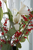 Christmas bouquet of white lilies and twigs of red berries in front of window