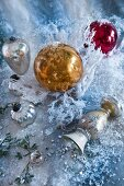 Old Christmas tree decorations and vase