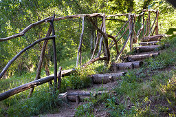 Secret garden stairs with rustic railings