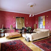 Corner sofa and couch in traditional living room with modern wall and ceiling lamps