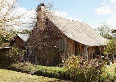 A wooden hut
