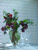 Hellebore bouquet in glass vase