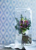 Posy of hellebores in glass jar