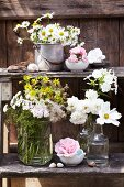 Various bouquets of wild flowers and garden flowers