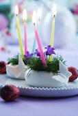 Small Easter arrangements of harebells and candles