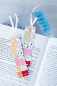 Bookmarks hand-made from various tapes and ribbons